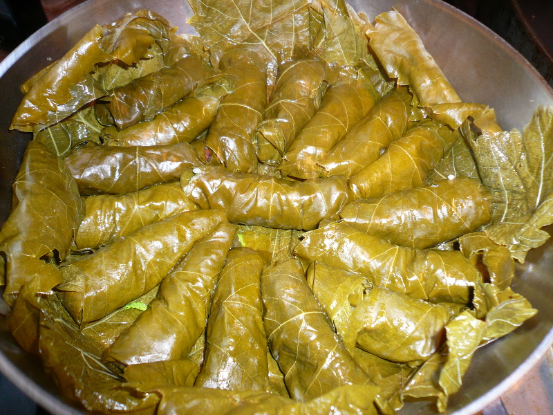 Dolmathes (Greek grape leaves stuffed with rice and meat)