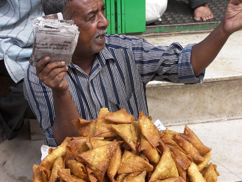 Samosas (Indian, Pakistani deep-fried potato pastries)
