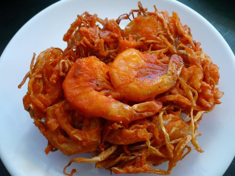 Ukoy (Filipino shrimp and sweet potato fritters)