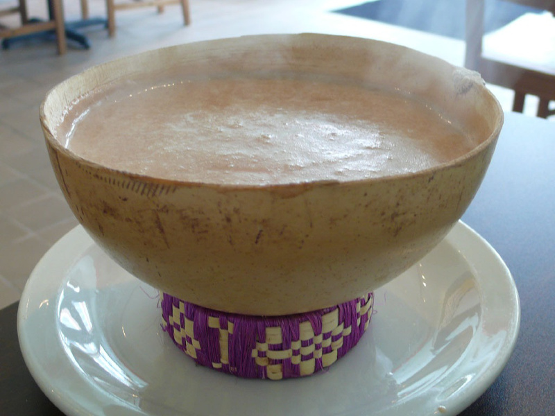 Bowl of hot champurrado, a Mexican chocolate-cornmeal beverage