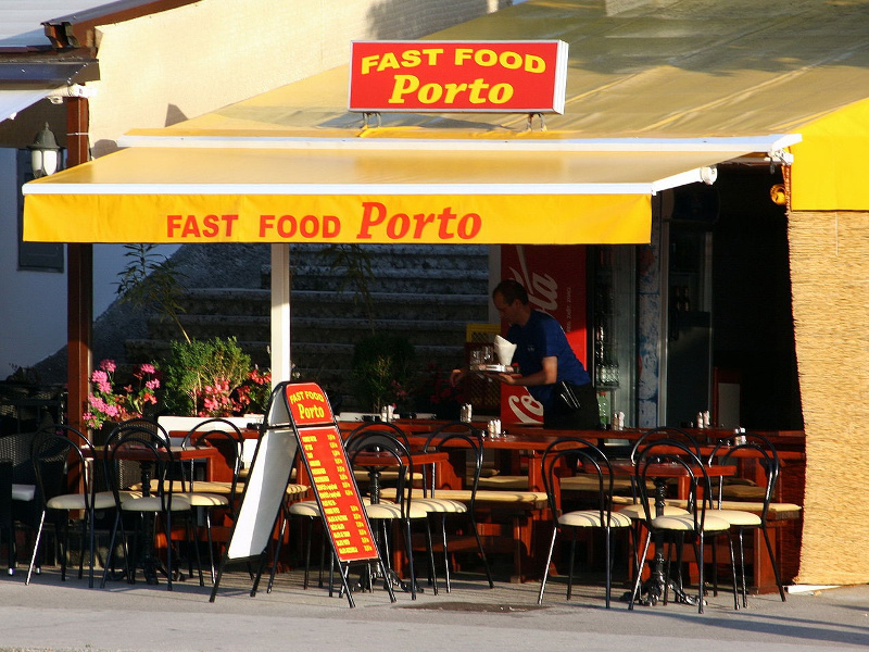 Fast food restaurant in Malinska, Croatia