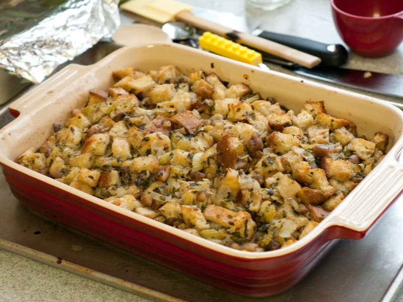 A dish of traditional Thanksgiving bread stuffing