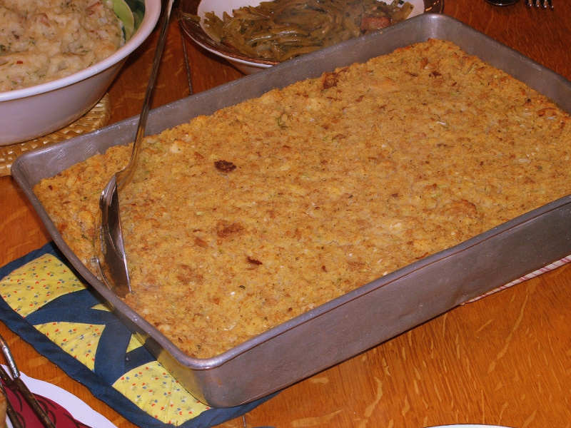Pan of Southern cornbread dressing