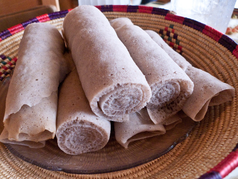 Rolls of injera bread