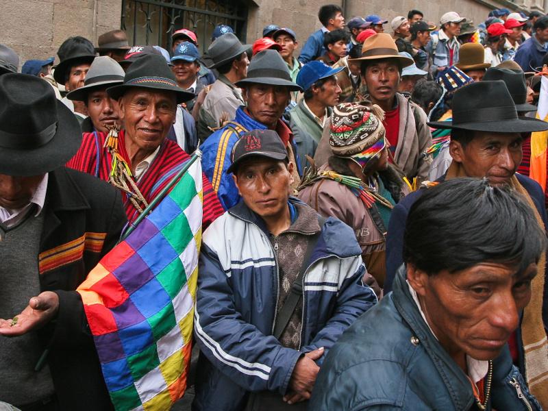 Men at a demonstration in La Paz, Bolivia