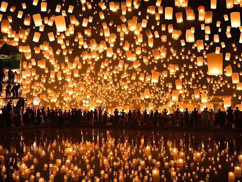 Floating lanterns at Loi Krathong Festival in Thailand
