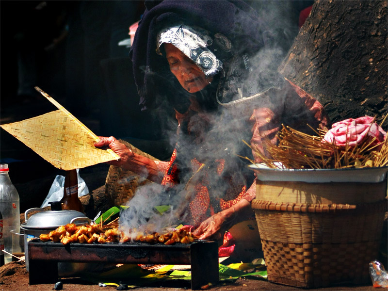 Indonesian satay vendor