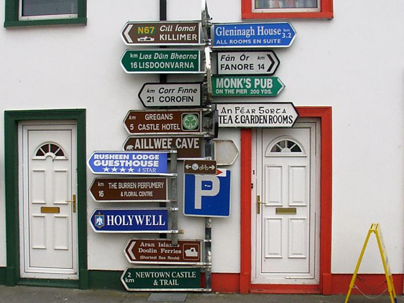 Ireland roadside signs and doors