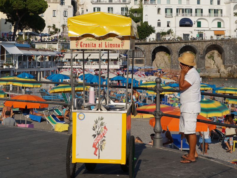 Granita al limone vendor in Amalfi, Italy