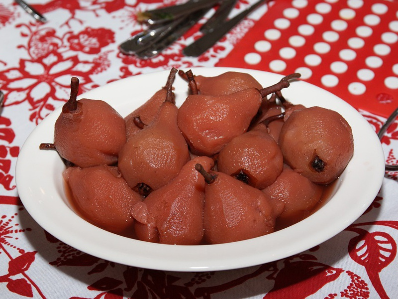French pears poached in red wine