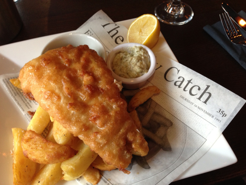 Fish and Chips Recipe (English batter-fried fish with fried potato wedges) | Whats4eats