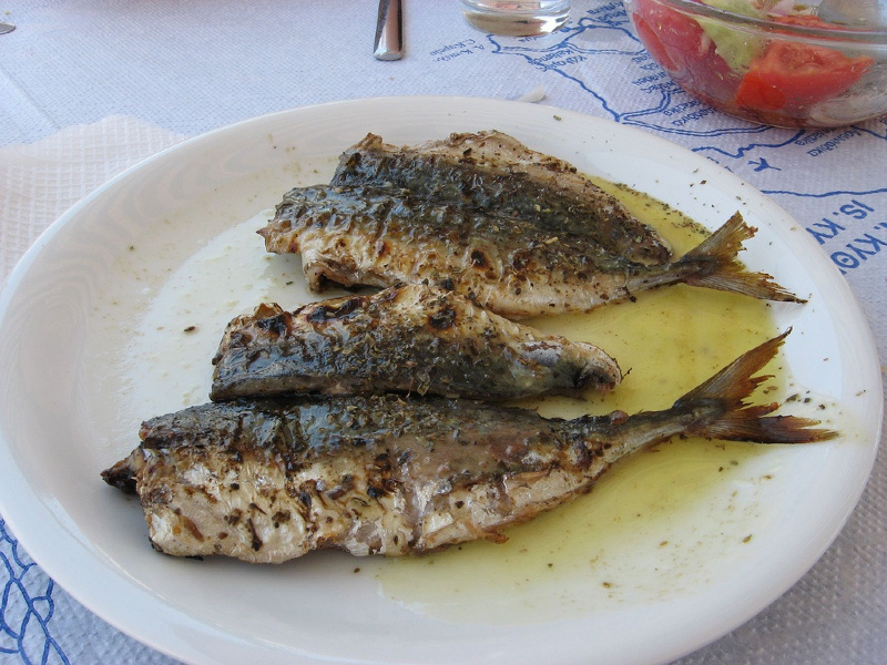 Plate of grilled fish