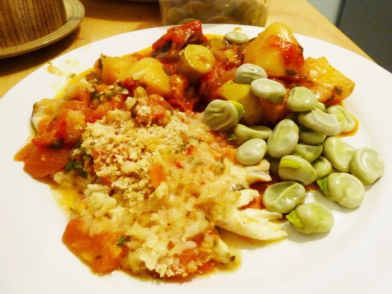 Greek fish baked in the style of Spetsai with favas and vegetables