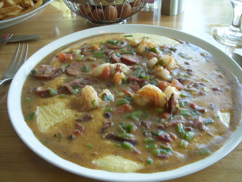Big bowl of shrimp and grits