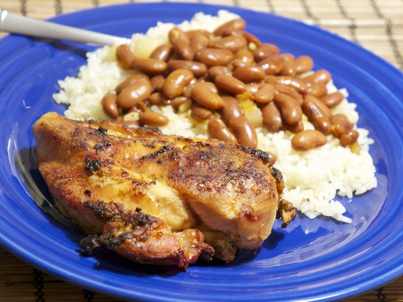 Dominican red beans and rice with sauteed chicken breast