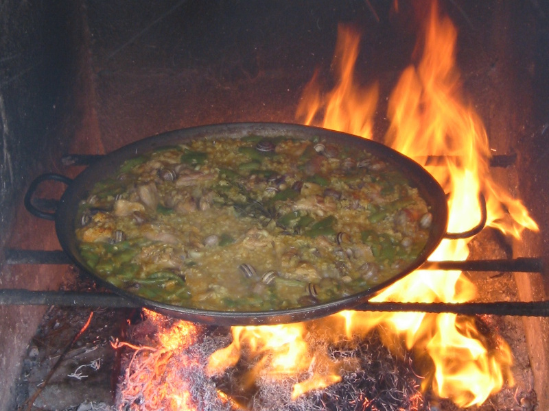 Paella over an open flame