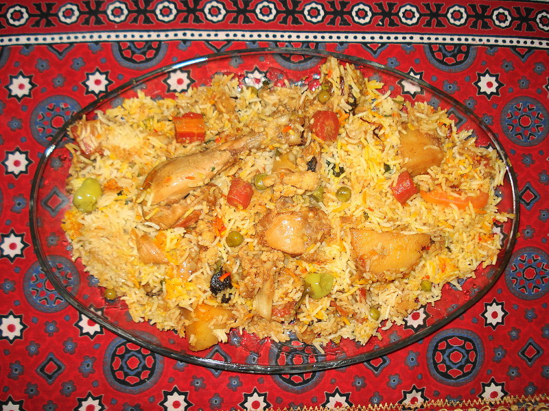 Sindhi Biryani (Pakistani meat curry with rice)