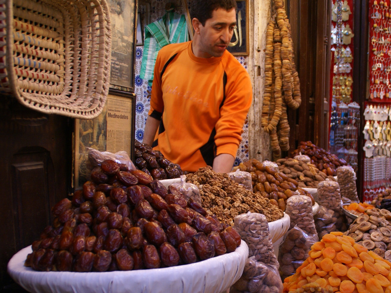 Moroccan dried fruit vendor
