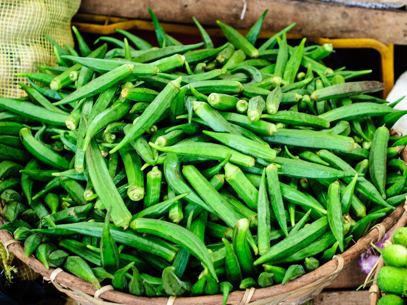 Basket of fresh okra