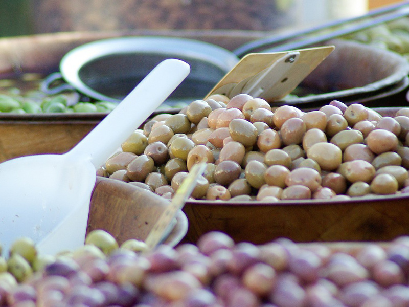 Bowls of olives at the market