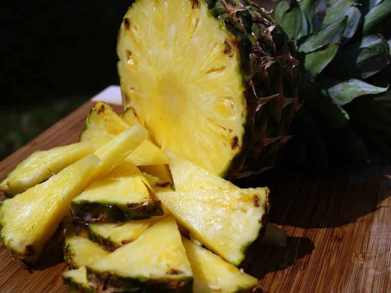 Fresh pineapple cut into chunks