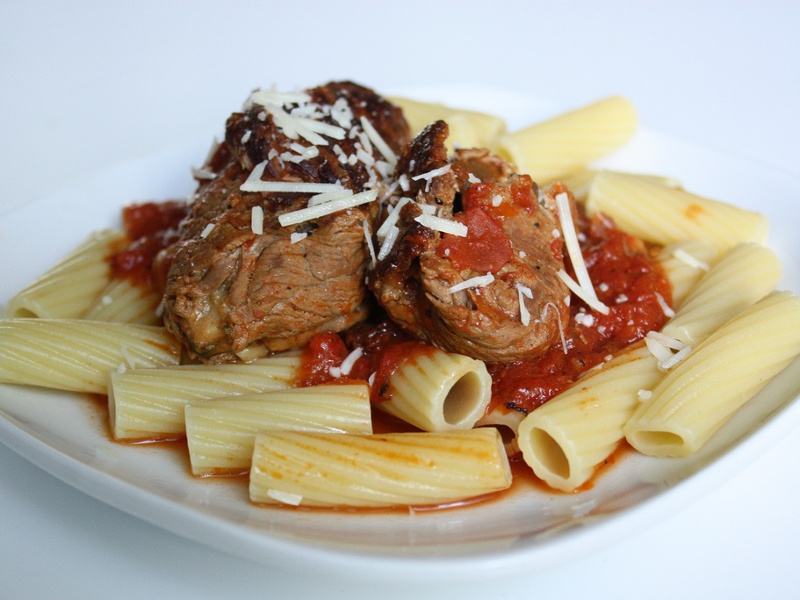 Braciole over rigatoni