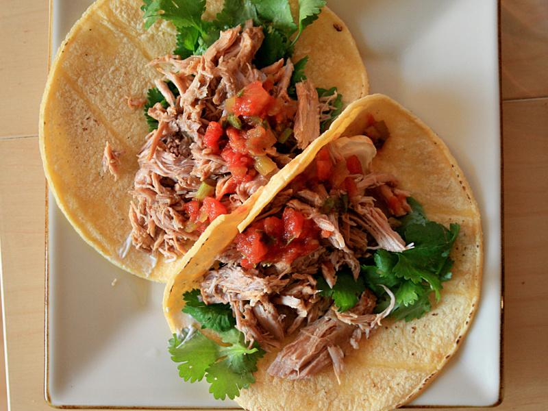Tacos with pork carnitas