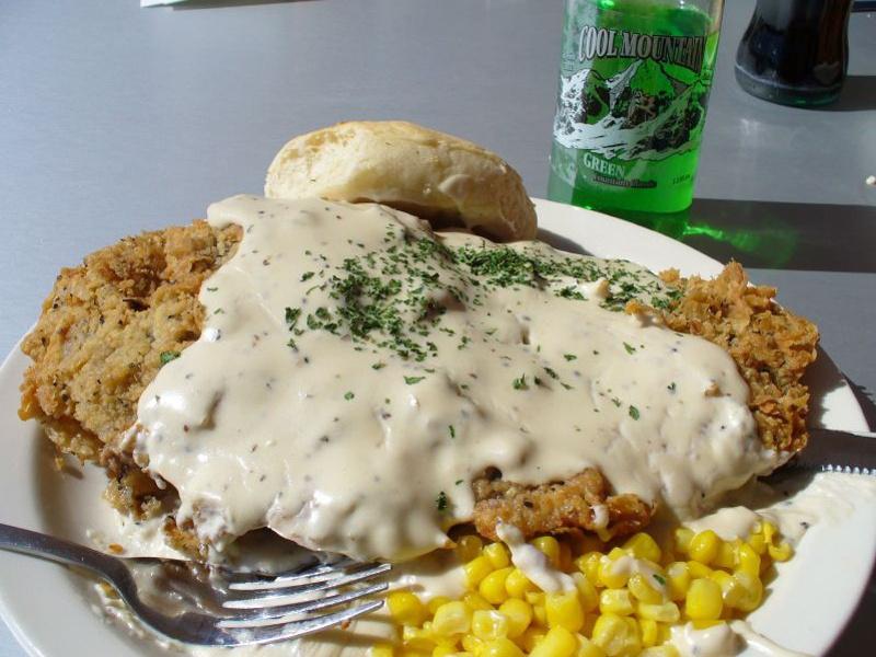 Plate of chicken-fried steak
