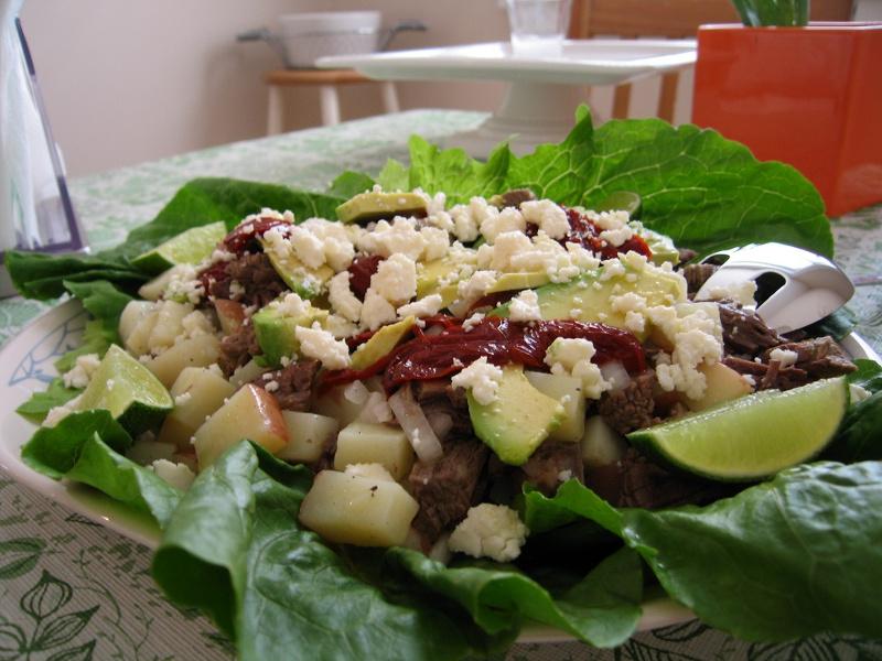 Salpicon Central American shredded beef salad