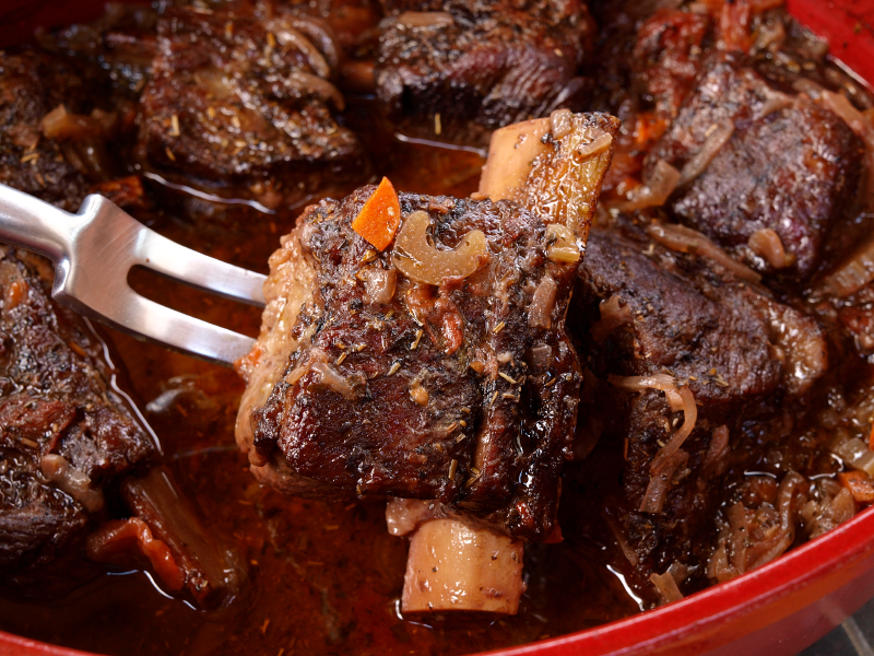 Braised Short Ribs (Jewish beef ribs simmered in red wine)