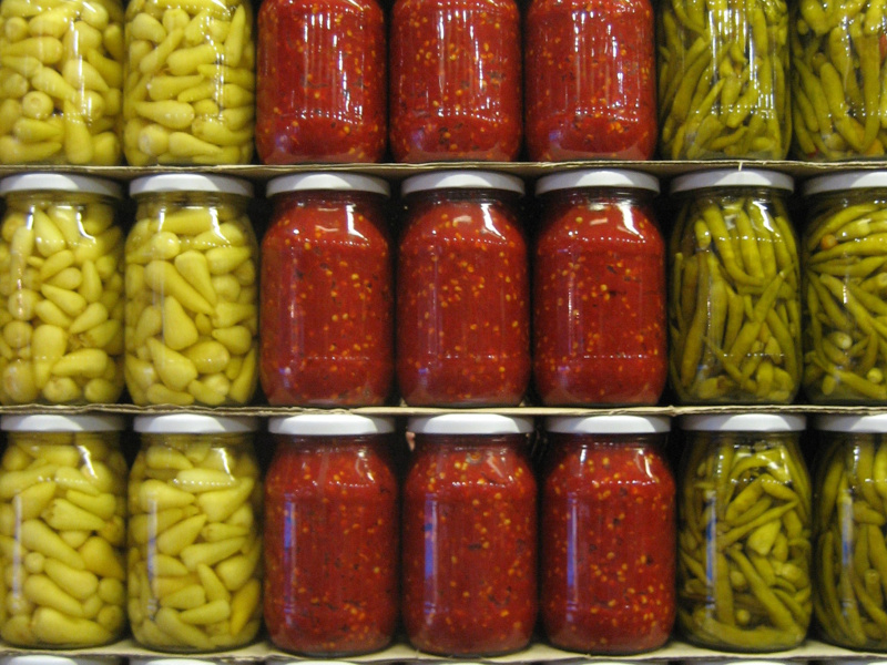 Stacks of home-canned goods