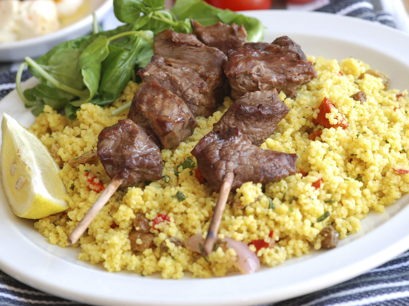 Couscous with kebabs