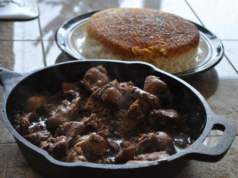 Fesenjan (Persian chicken in pomegranate-walnut sauce)