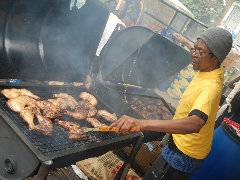 Grilling Jamaican jerk chicken