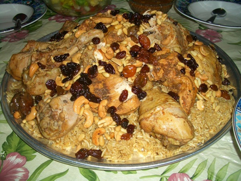 Kabsa, or Machboos (Gulf States aromatic chicken with rice)