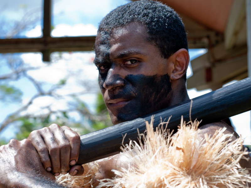 Fijian man in warrior costume