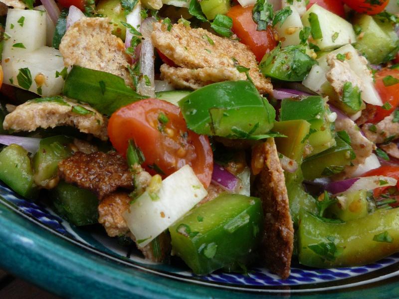 Fattoush (Arab tomato, cucumber and bread salad)