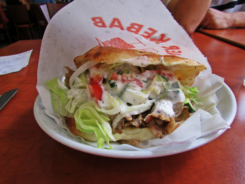 Doener Kebab (German, Turkish spiced meat sandwich)