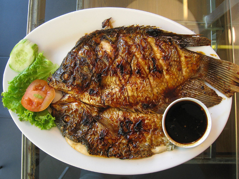 Grilled fish with sweet soy sauce