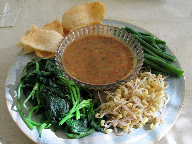 Sambal kacang peanut sauce with fresh vegetables