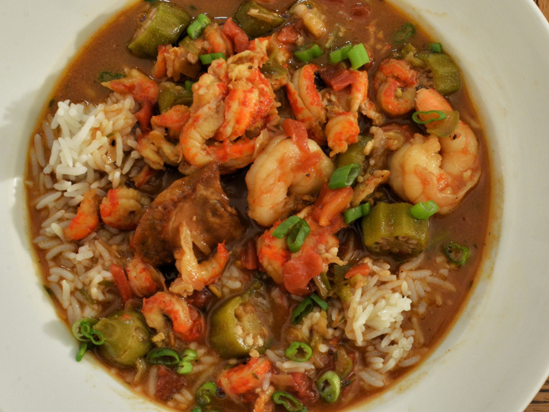 Chicken, sausage and shrimp gumbo