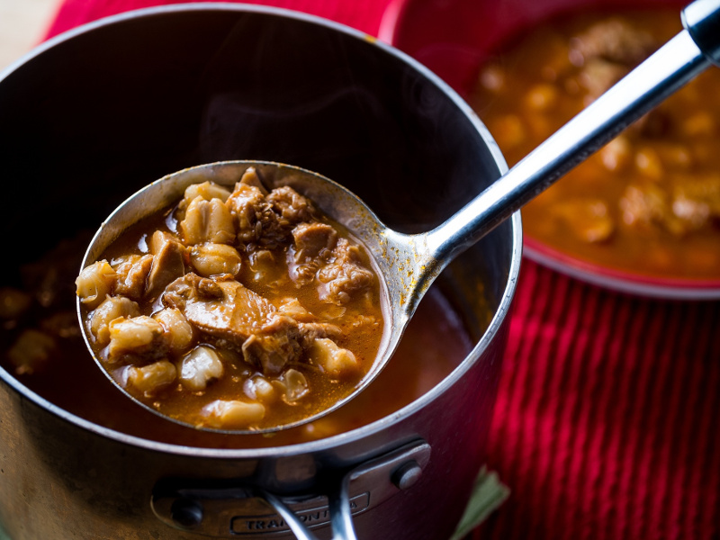 Menudo Rojo (Mexican spicy beef tripe soup)