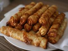 A plate of sigara boregi, Turkish cheesy roll ups