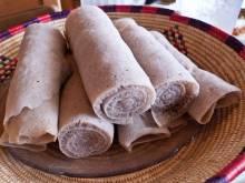 Rolls of injera bread