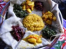 Injera (Ethiopian, Eritrean sourdough crepe)
