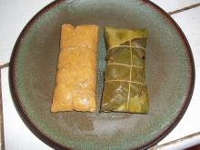 Puerto Rican pasteles, wrapped and unwrapped