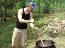 Stirring a big pot