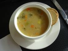 A bowl of Scotch broth with oatcakes