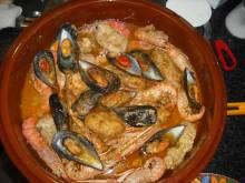 Bowl of zarzuela de mariscos Spanish seafood stew