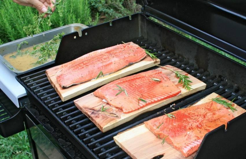 Cedar Plank Salmon (Canadian salmon grill-roasted on aromatic wood)